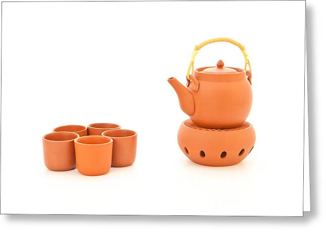 White Clay Greeting Cards - Terracotta tea set Greeting Card by Tom Gowanlock