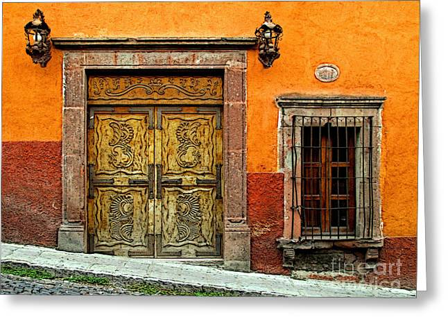 San Miguel De Allende Greeting Cards - Terracotta Wall 1 Greeting Card by Olden Mexico