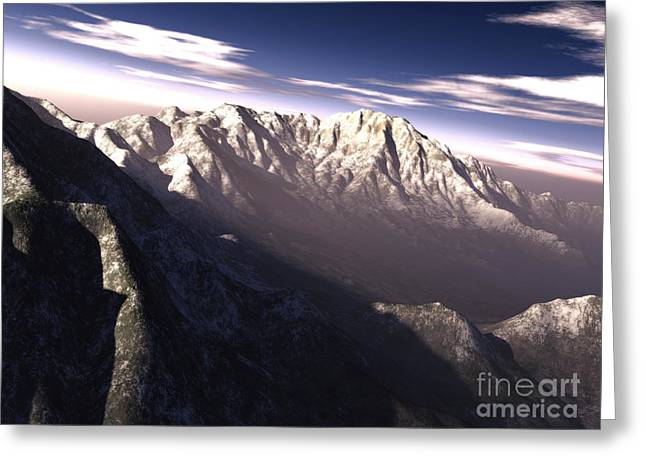Terragen Render Of Kitt Peak, Arizona Greeting Card by Rhys Taylor