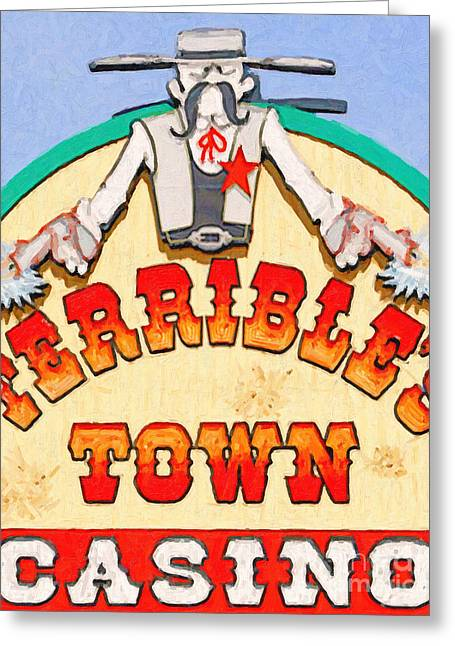 Terrible Greeting Cards - Terribles Town Casino Greeting Card by Wingsdomain Art and Photography