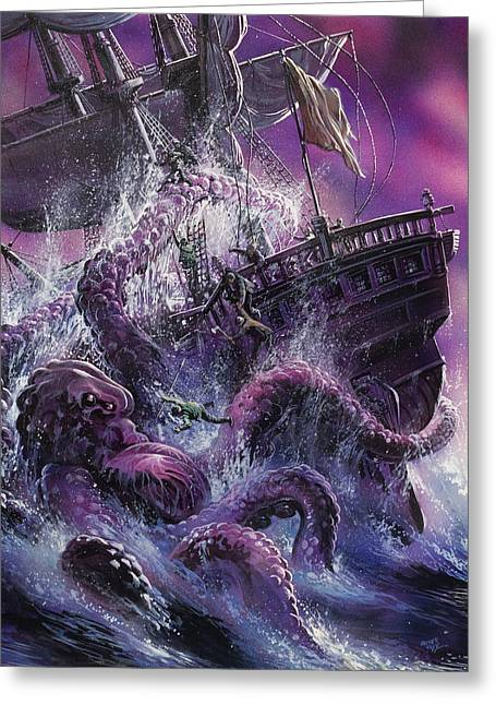 Masts Greeting Cards - Terror from the Deep Greeting Card by Oliver Frey