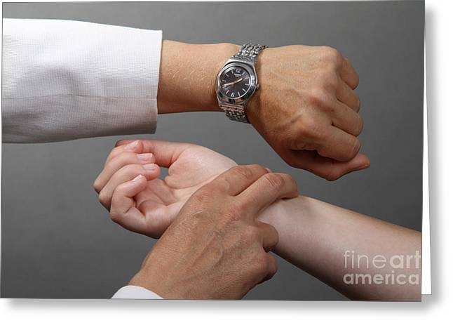 Wrist Watch Greeting Cards - Testing Pulse Greeting Card by Photo Researchers, Inc.