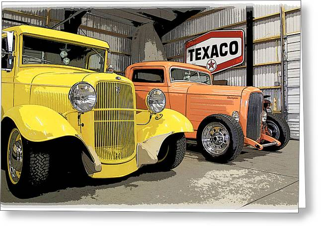 1949 Plymouth Greeting Cards - Texaco Garage Greeting Card by Steve McKinzie