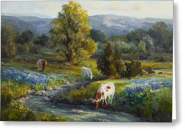 Longhorn Greeting Cards - Texas Bluebonnets And Longhorns Greeting Card by Lilli Pell