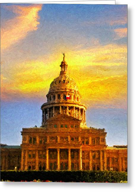 Recently Sold -  - Kinkade Greeting Cards - Texas Capitol at Sunset Austin Greeting Card by Jeff Steed
