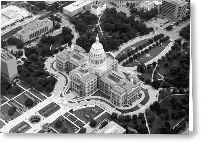 Capitol Greeting Cards - Texas Capitol BW10 Greeting Card by Scott Kelley