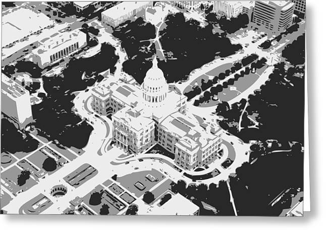 Capitol Digital Greeting Cards - Texas Capitol BW3 Greeting Card by Scott Kelley