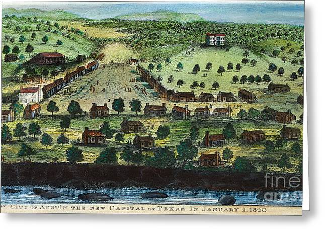 Engraving Greeting Cards - Texas: City Of Austin 1840 Greeting Card by Granger