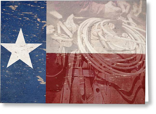 Lone Horse Greeting Cards - Texas Cowboy Flag Greeting Card by Paul Huchton