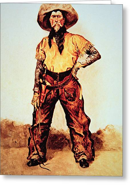 Bandana Greeting Cards - Texas Cowboy Greeting Card by Frederic Remington