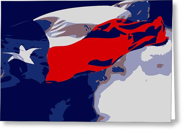 Austin Artist Digital Art Greeting Cards - Texas Flag in the Wind Color 6 Greeting Card by Scott Kelley