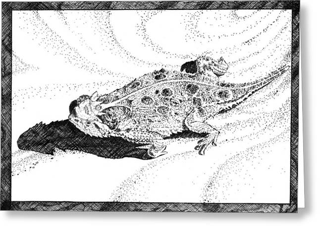 Recently Sold -  - Pen Greeting Cards - Texas Horned Lizard two Greeting Card by A Leon Miler