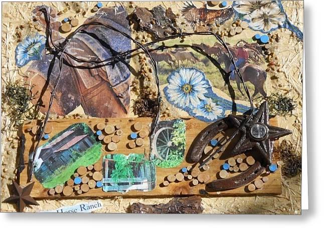 Quarter Horse Mixed Media Greeting Cards - TeXas Horse Ranch Greeting Card by Nancy ELeGant