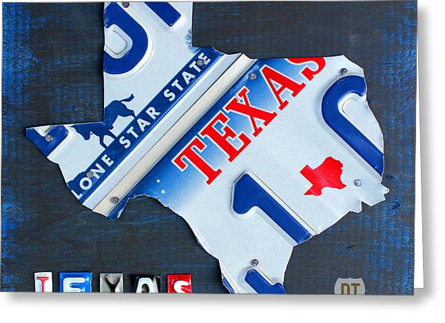 Fort Worth Texas Greeting Cards - Texas License Plate Map Greeting Card by Design Turnpike