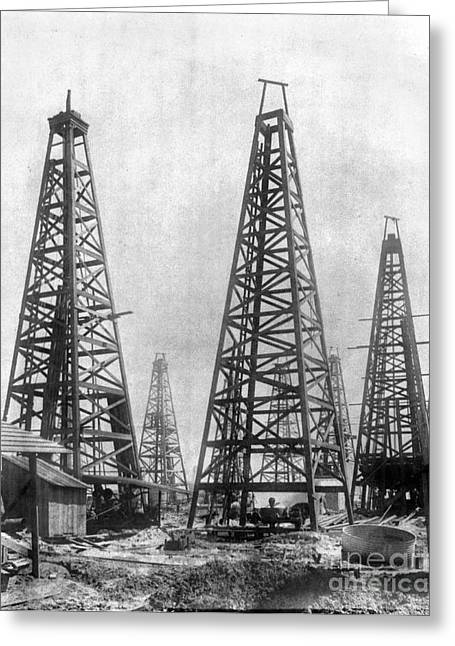 Oil Field Greeting Cards - TEXAS: OIL DERRICKS, c1901 Greeting Card by Granger