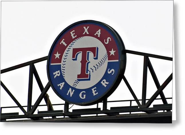 Baseball Uniform Greeting Cards - Texas Rangers Greeting Card by Malania Hammer