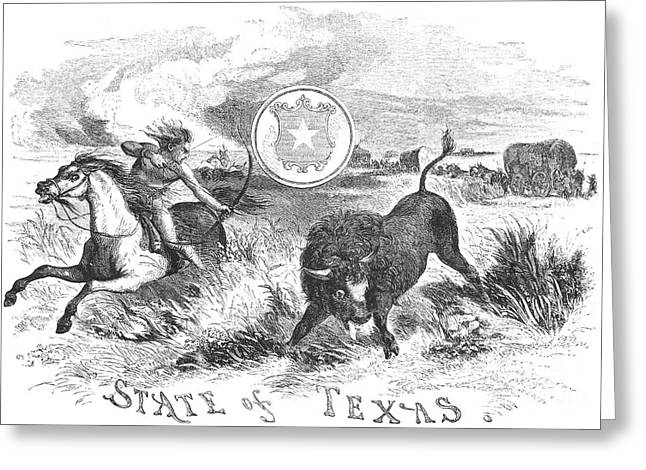 Lone Horse Greeting Cards - Texas Scene, 1855 Greeting Card by Granger