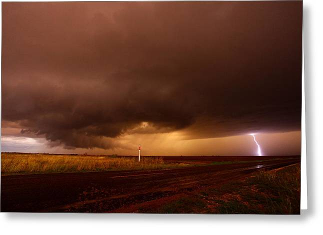 Thunderstorm Mixed Media Greeting Cards - Texas Sized Storm Greeting Card by Chris  Streeks