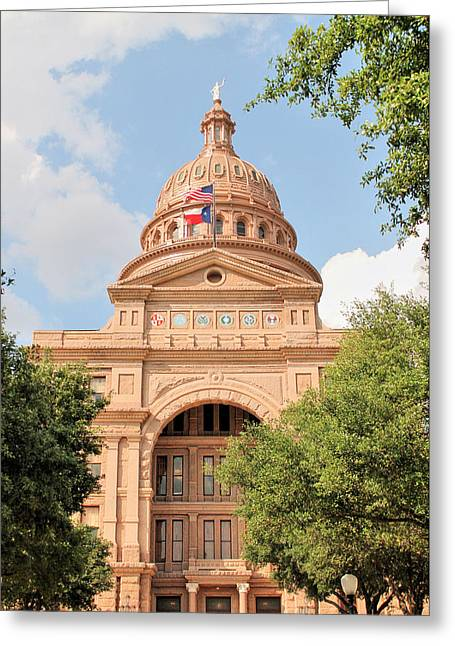 Goddess Of Liberty Greeting Cards - Texas State Capitol Building Front Entrance Greeting Card by Sarah Broadmeadow-Thomas