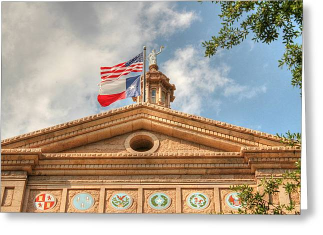Goddess Of Liberty Greeting Cards - Texas State Capitol Building in HDR Greeting Card by Sarah Broadmeadow-Thomas