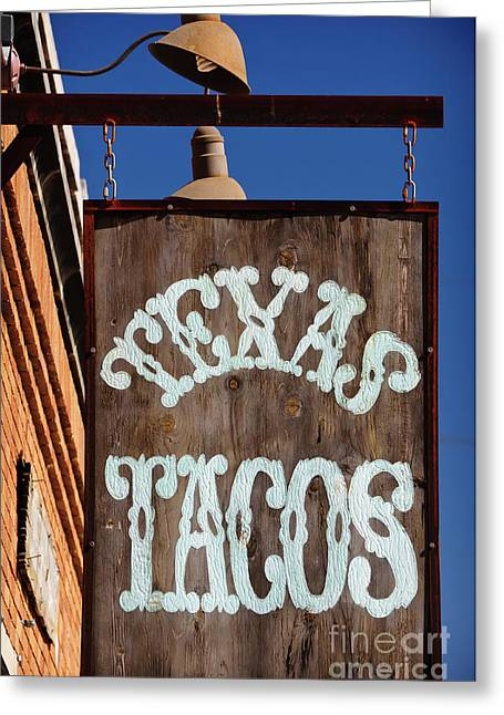 Taco Greeting Cards - Texas Tacos Greeting Card by Charles Dobbs