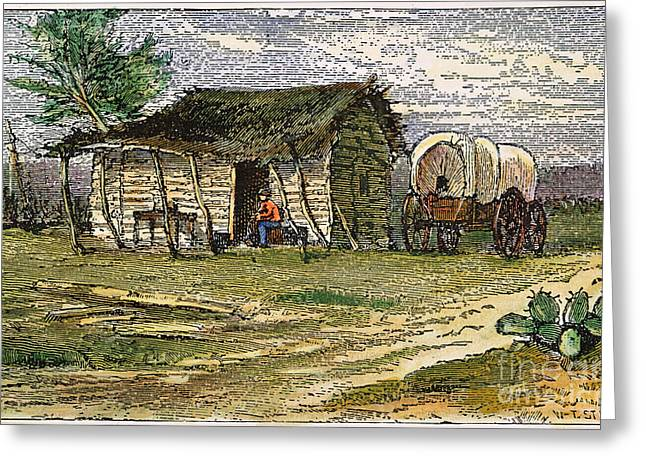Farmers Field Greeting Cards - Texas:ranchers Cabin 1875 Greeting Card by Granger
