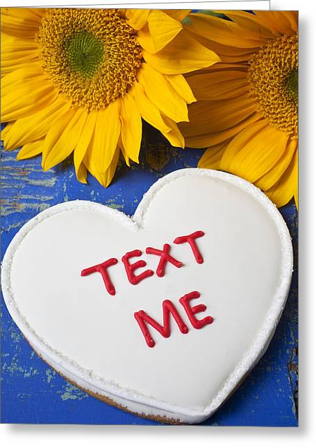 Texting Photographs Greeting Cards - Text Me Greeting Card by Garry Gay