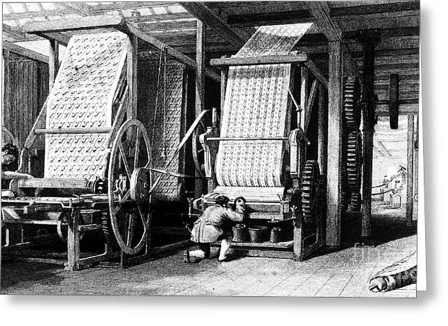 Mill Printing Greeting Cards - Textile Manufacture, 1839 Greeting Card by Granger