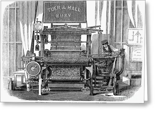 Tuer Greeting Cards - Textiles: Power Loom, 1862 Greeting Card by Granger