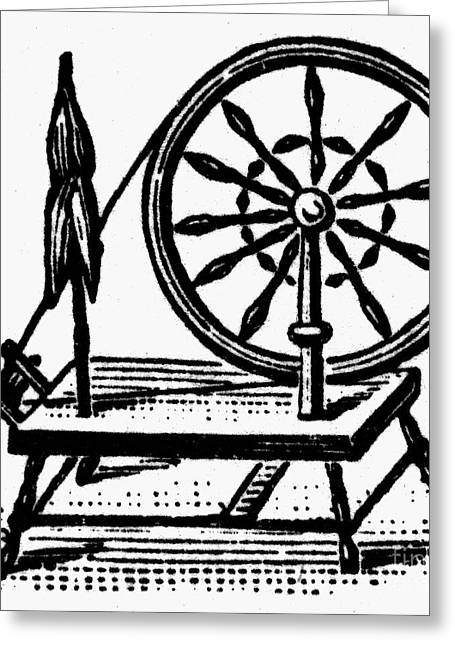 Distaff Greeting Cards - Textiles: Spinning Wheel Greeting Card by Granger
