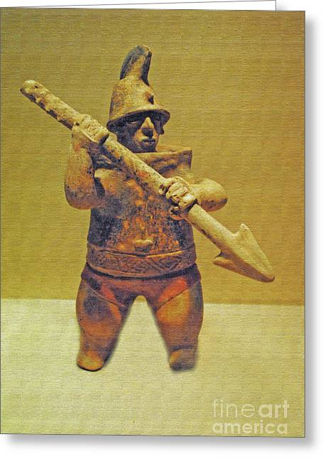 Mexican Fighters Greeting Cards - Texture in Stone Spear Greeting Card by Jost Houk