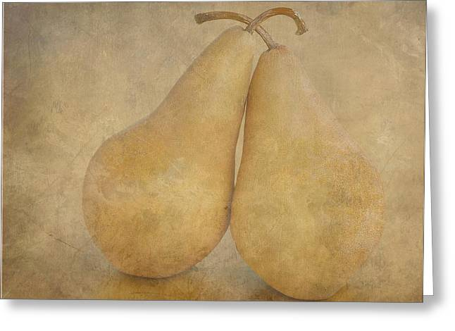 Beurre Bosc Greeting Cards - Textured Pairs Greeting Card by Tanis Saucier