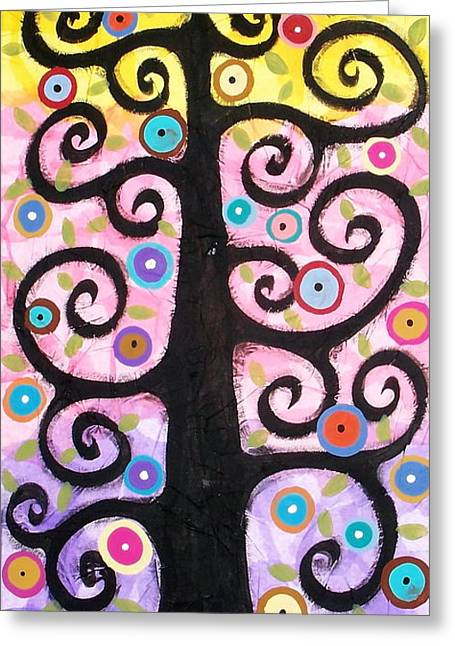 Tree Art Greeting Cards - Textured Tree Greeting Card by Karla Gerard