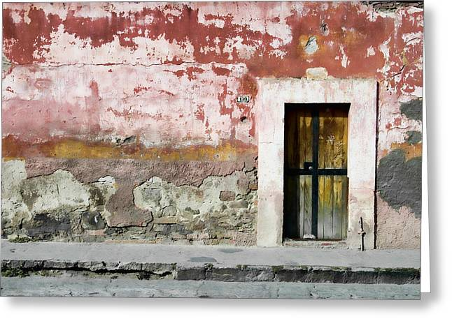 Colorful Southwest Greeting Cards - Textured Wall in Mexico Greeting Card by Carol Leigh