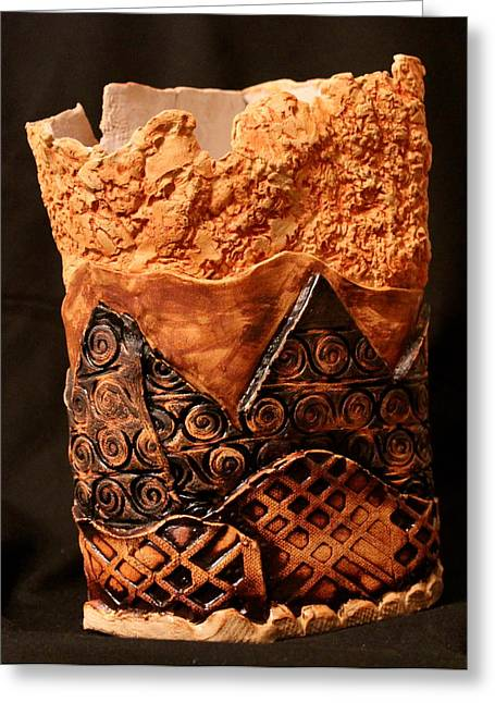 Art Vase Ceramics Greeting Cards - Textures Greeting Card by Ghazel Rashid