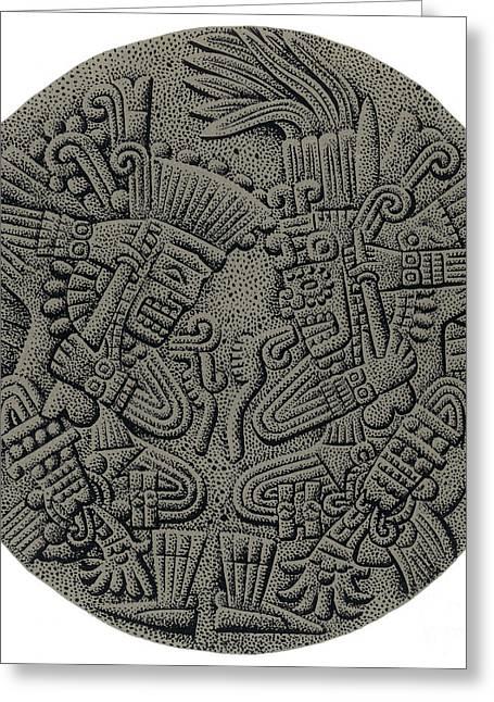 Human Sacrifice Artwork Greeting Cards - Tezcatlipoca And Huitzilopochtli Greeting Card by Photo Researchers