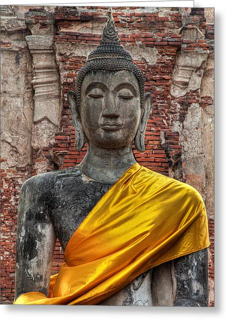 Religious Digital Art Greeting Cards - Thai Buddha Greeting Card by Adrian Evans