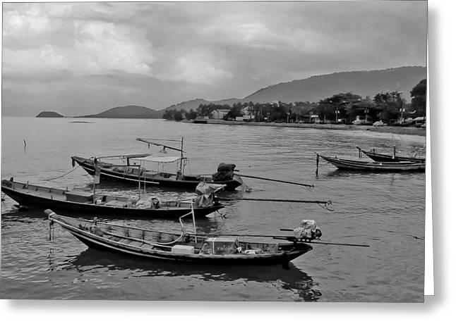 Thai Fishing Boats Greeting Card by Allan Rufus