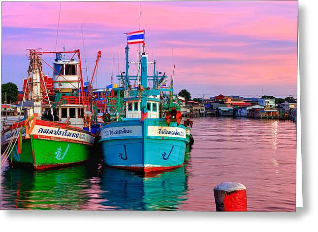 Water Vessels Greeting Cards - Thai Fishing Village Greeting Card by Thomas  von Aesch