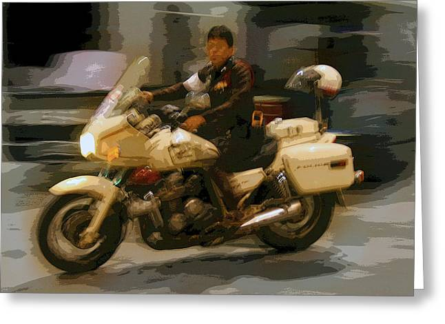 Police Traffic Control Greeting Cards - Thai Motorbike Police Greeting Card by Kantilal Patel