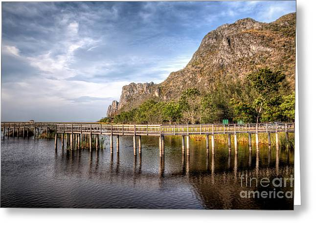 Wooden Fence Greeting Cards - Thai Park Greeting Card by Adrian Evans