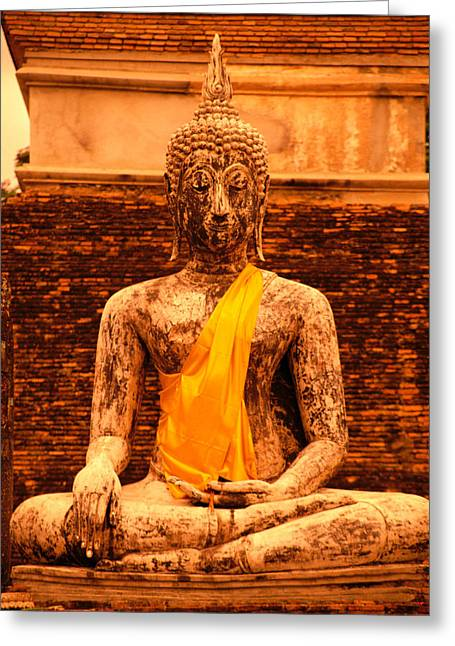 Crosslegged Greeting Cards - Thailand Buddha Statue Greeting Card by Kyle Rothenborg - Printscapes