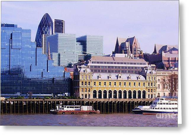 Thames and Financial District - London Greeting Card by John Clark