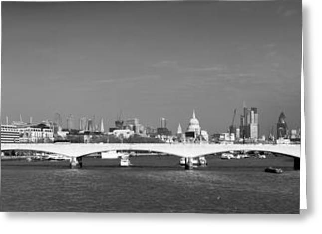 Thames panorama weather front clearing BW Greeting Card by Gary Eason