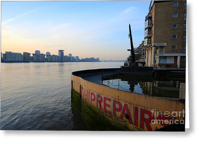 Repaired Digital Art Greeting Cards - Thames Sunrise Greeting Card by Donald Davis