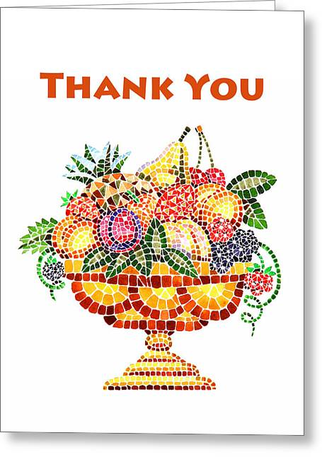 Mosaic Paintings Greeting Cards - Thank You Card Fruit Vase Greeting Card by Irina Sztukowski