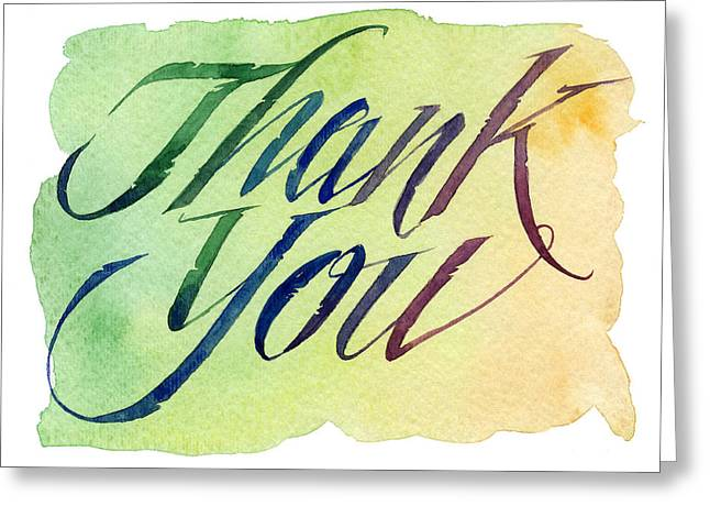 Loose Watercolor Greeting Cards - Thank You in Green Greeting Card by Shawn Shea