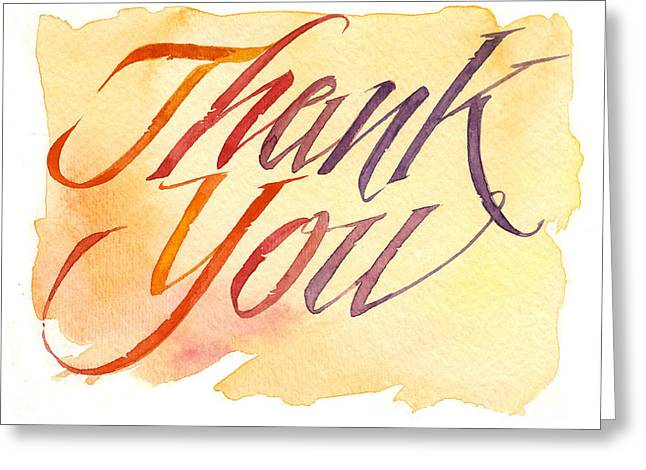 Loose Watercolor Greeting Cards - Thank You in Red Greeting Card by Shawn Shea