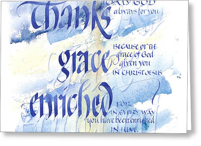 Thanks Grace   Greeting Card by Judy Dodds