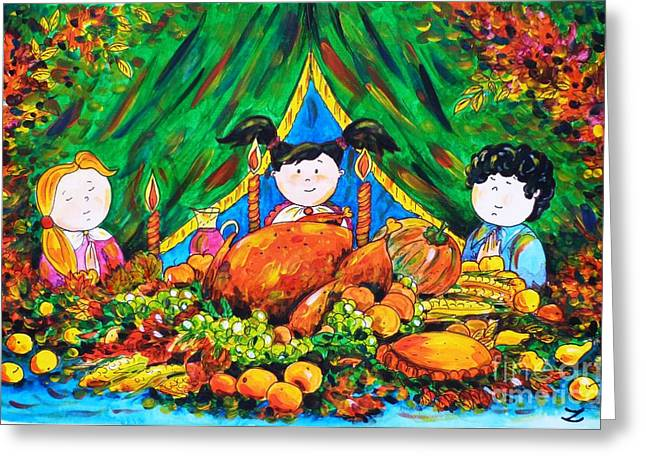 Unique View Paintings Greeting Cards - Thanksgiving Day Greeting Card by Zaira Dzhaubaeva